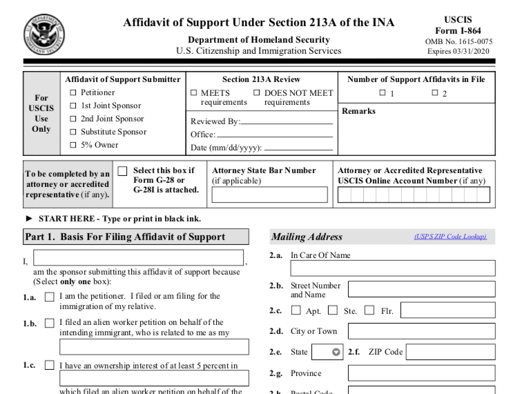 Q&A: Form I-864, Affidavit of Support.